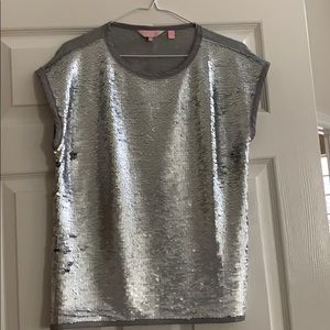 Ted Baker silver sequin T shirt top